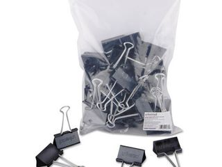 Universal large Binder Clips  Zip Seal Bag  1  Capacity  2  Wide  Black  36 Bag