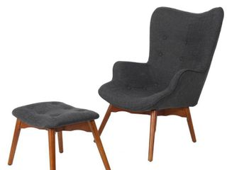 lot of 2  Hariata Mid Century Modern Wingback Fabric Chair and Ottoman Set by Christopher Knight Home  Retail 355 49