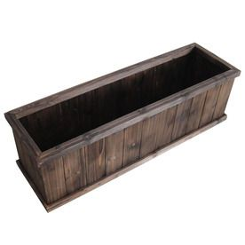 Garden Treasures 39 96 in x 12 in Brown Wood Traditional Window Box