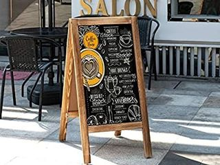 Board2by Heavy Duty A Frame Magnetic Chalkboard Sign  40  X 20  large Folding Sandwich Board Standing Sidewalk Sign  Freestanding Chalk Board Easel for Restaurant  Business or Wedding  Rustic Brown