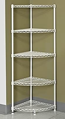 Muscle Rack WSCR141447 5 Shelf Steel Wire Corner Shelving Unit  14  Width  47  Height  14  Depth