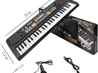 BIGFUN Kids Piano Keyboard  49 Keys Electronic Musical Instrument Early learning Keyboard Piano for Beginner  Black