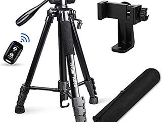 Torjim 60a Camera Tripod with Carry Bag  lightweight Travel Aluminum Professional Tripod Stand  5kg 11lb load  with Bluetooth Remote for DSlR SlR Cameras Compatible with Phone Black