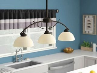 Kitchen Island Pendant lighting 3 light Alabaster Frosted Glass Shade Chandelier