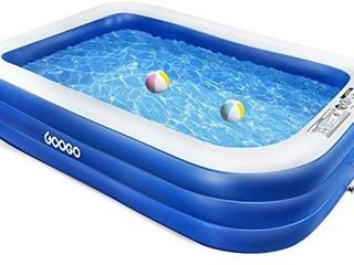 Googo Family Inflatable Swimming Pool  118 x72 x20  Full Sized Inflatable lounge Pool for Kiddie  Kids  Adults  Easy Set Swimming Pool for Backyard  Summer Water Party  Outdoor