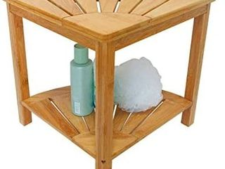 Zhuoyue Corner Shower Bench   Shower Stool with Storage Shelf  Corner Seat for Shower  Use as Small Corner Table