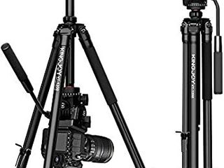 KINGJOY Video Camera Tripod  61 inch Aluminum Video Tripod Fluid Head with Fluid Pan Drag Head  Adjustable leg Angle  Center Column  Compatible for Canon Nikon DSlR Video Shooting  VT 1200