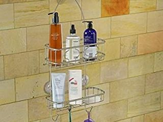 Simple Houseware Bathroom Hanging Shower Head Caddy Organizer  Silver  22 x 10 2 x 4 2 inches