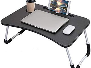 Hossejoy Foldable laptop Table  Breakfast Serving Bed Tray  lap Desk with Foldable leg   Tablet Phone Groove   Cup Slot for Reading Writing Eating on Bed Couch Sofa Floor