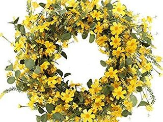 J FlORU Decor Wreathi1 4Yellow Daisy Wreathi1 422 inchesi1 4Spring and Summer Wreath for Outdoor Or Home Decor Decoration Easter Wreath