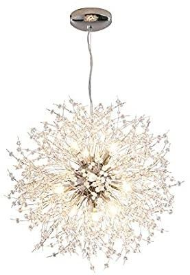 Dellemade Modern Sputnik Chandelier  DD00906N 12 lights Fireworks Pendant light Silver Crystal Ceiling light Fixture for Bedroom living Room Dining Room