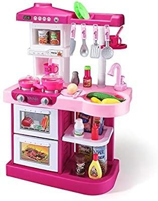 Temi Kids Kitchen Playset Pretend Food   34 PCS Kitchen Toys for Toddlers  Toy Accessories Set w  Real Sounds and light  for Kids  Girls   Boys pink