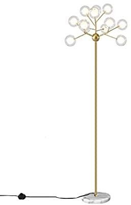 Dellemade TD00913 Sputnik Chandelier Floor lamp with Glass Globe Shade On Off Switch in line G4 Bulbs Included
