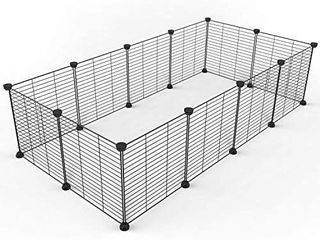Tespo Pet Playpen  Small Animal Cage Indoor Portable Metal Wire Fence 12 Panel
