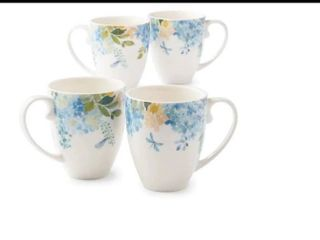 Princess House Marbella Blossom Coffe Mugs Set of 4