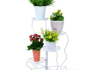 Worth Garden 4 Tier Metal Plant Stand  White