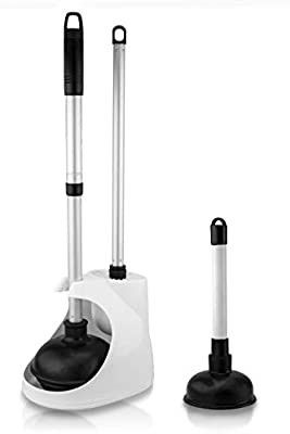 Neiko 60168A Toilet Plunger with Telescopic Aluminum Handle  Cleaning Brush and Storage Caddy Set   Complete 4 Piece Bathroom Combination with Mini Sink and Drain Plunger