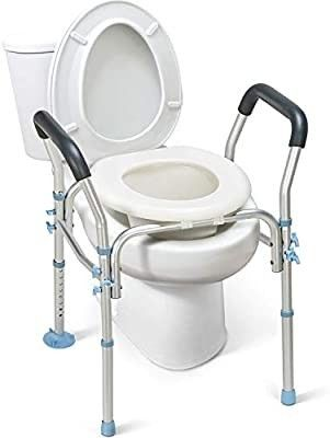 OasisSpace Stand Alone Raised Toilet Seat 300lbs   Heavy Duty Medical Raised Homecare Commode and Safety Frame  Height Adjustable legs  Bathroom Assist Frame for Elderly  Handicap  Disabled