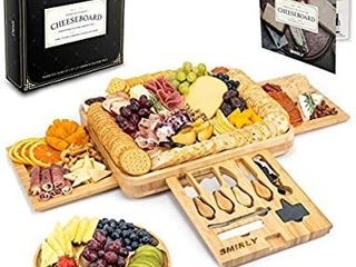 Smirly Cheese Board and Knife Set  16 x 13 x 2 Inch Wood Charcuterie Platter for Wine  Cheese  Meat
