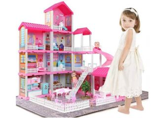 Temi Dollhouse Dream House Building Toys Figure With Furniture