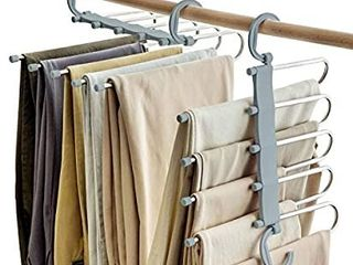 SOSOPIN Space Saving Pants Hangers Non Slip Clothes Organizer 5 layered Pants Rack for Scarf Jeans Trousers 2 Pack