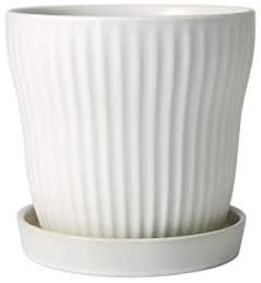 Modern White Ceramic Planter Pot with Saucer and Drainage Hole