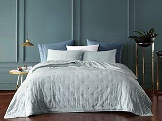 Bourina Reversible Bedspread Coverlet Set   Pre Washed Microfiber Ultra Soft lightweight Star Quilted