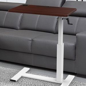 Balee Crank Overbed Table Adjustable Height Desk Rolling Over Bed Bedside Table with Wheels