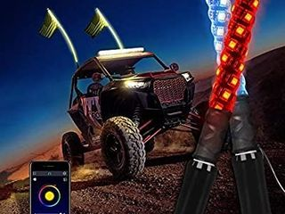 MICTUNING 2pc 4ft Spiral lED Whip lights with Flag  APP Bluetooth Control with Flow Chasing Mode Multi colors lighted Antenna Whips compatible with ATV UTV RZR Jeep Trucks Dunes