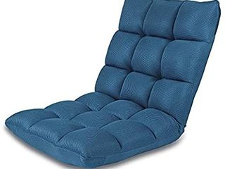 Floor Chair Adjustable NNEWVANTE 5 Angles Padded Floor Seating Back Support Floor Seat Recliner Fold Flat for Meditation  Reading  Watching  Video Gaming  Adult Kid  Nave Blue