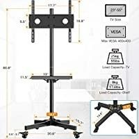 Mobile TV Cart with Wheels for 23 55 Inch lCD lED 4K Flat Curved Screen TVs   Height Adjustable Shelf Trolley Floor Stand Holds up to 55lbs   Movable Monitor Holder with Tray Max VESA 400x400mm