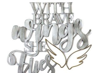 17 25  X 16   With Brave Wings She Flies  Metal Word Art
