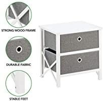 Mdesign 2 Drawer Foldable Fabric And Wood Dresser Storage Unit   Gray white