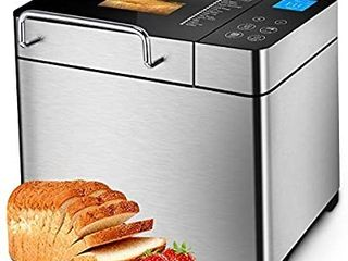 KBS Pro Stainless Steel Bread Machine  2lB 17 in 1 Programmable Xl Bread Maker with Fruit Nut Dispenser  Nonstick Ceramic Pan  Digital Touch Panel  3 loaf Sizes 3 Crust Colors  Reserve  Keep Warm Set