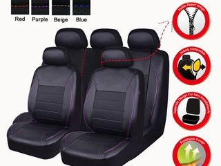 NEW ARRIVAl  CAR PASS UNIVERSAl FIT PIPING leather Car Seat Cover  Perfect fit for suvs Van Trucks Airbag compatible Reserved Opening Holes For headrest covers 11PCS  Black And Purple