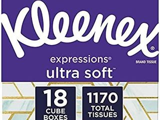 Kleenex Expressions Ultra Soft Facial Tissues  18 Cube Boxes  65 Tissues Per Box