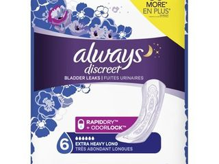 Always Discreet Incontinence Pads  Extra Heavy  long length  45 ct