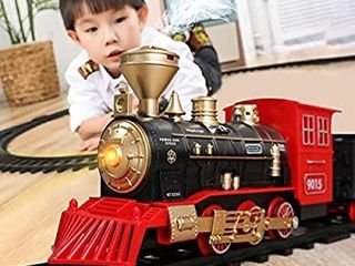 Temi Train Sets w  Steam locomotive Engine  Cargo Car and Tracks  Battery Operated Play Set Toy w  Smoke  light   Sounds  Perfect for Kids  Boys   Girls