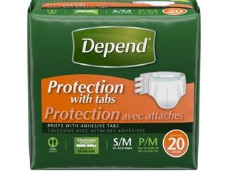 Depend Protection with Tabs   Small Medium  Maximum Absorbency  20 Count Package