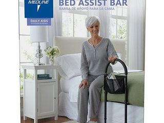 Medline Bed Assist Bar With Storage Bag  Height Adjustable Bed Grab Bar  Black Frame