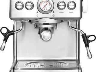Brim   Espresso Maker with 19 bars of pressure  Milk Frother and Removable water tank   Silver