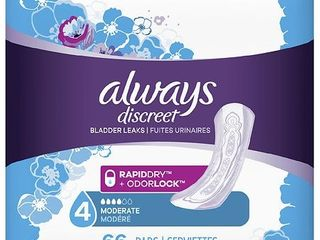 Always Discreet Incontinence Pads   Moderate Absorbency   Regular   Size 4   66ct