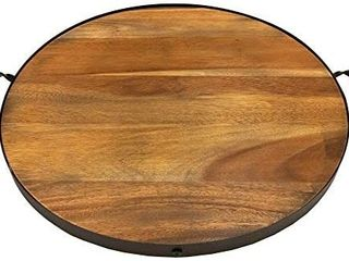 20 Inch Round Serving Tray  Solid Wood with Metal Band and Handles