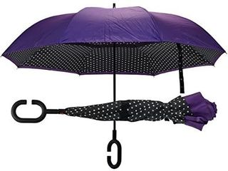 Revers A Brella Double layer  No Drip Umbrella with Hands Free C Handle  24 MPH Wind Proof Navy with White Polka dots Black