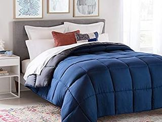 linenspa All Season Reversible Down Alternative Quilted Comforter   Hypoallergenic   Plush Microfiber Fill   Machine Washable   Duvet Insert or Stand Alone Comforter   Navy Graphite   Queen