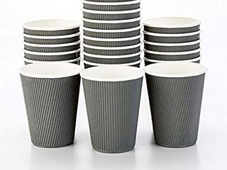 12 Oz Gray Paper Coffee Cup   Ripple Wall   3 1 2  X 3 1 2  X 4 1 4    25 Count