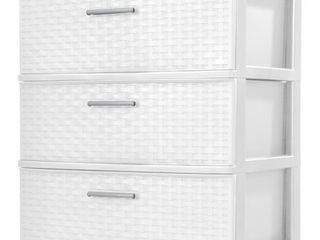 Sterilite 3 Drawer Wide Weave Tower White