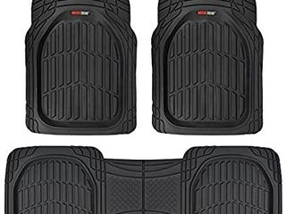 Motor Trend 923 BK Black FlexTough Contour liners Deep Dish Heavy Duty Rubber Floor Mats for Car SUV Truck   Van All Weather Protection  Universal Trim to