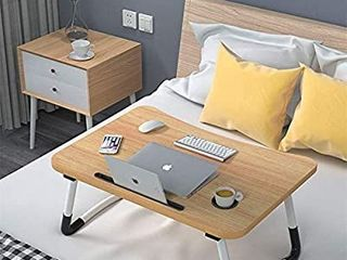 laptop Desk Bed Table Tray  lap Desk Bed Table for Breakfast Serving Tray  Notebook Table with Tablet Slots and Cup Holder