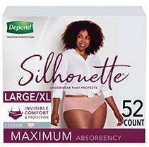 Depend Silhouette Incontinence Underwear for Women   Maximum Absorbency   large X large   52ct   Pink
